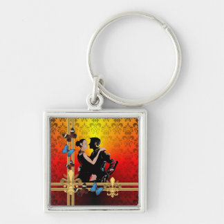 Romantic tango dancers on damask Silver-Colored square keychain