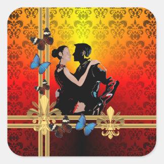 Romantic tango dancers on damask square sticker