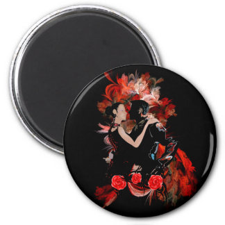 Romantic tango dancers on red fractal 2 inch round magnet