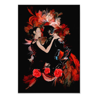 Romantic tango dancers on red fractal card