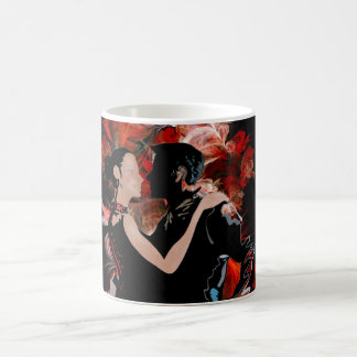 Romantic tango dancers on red fractal coffee mug