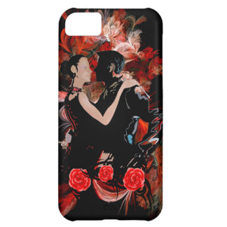 Romantic tango dancers on red fractal iPhone 5C cover