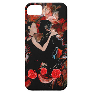 Romantic tango dancers on red fractal iPhone SE/5/5s case