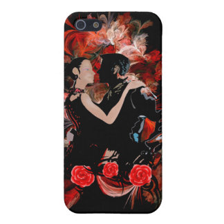 Romantic tango dancers on red fractal iPhone SE/5/5s cover