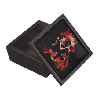 Romantic tango dancers on red fractal jewelry box