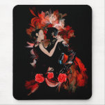 Romantic tango dancers on red fractal mouse pad