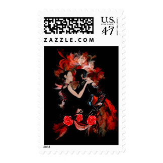 Romantic tango dancers on red fractal postage