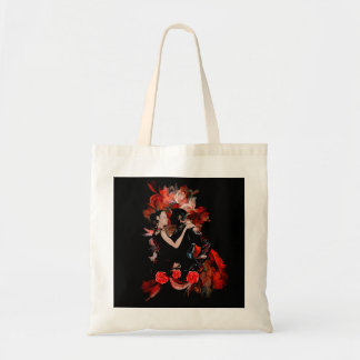 Romantic tango dancers on red fractal tote bag