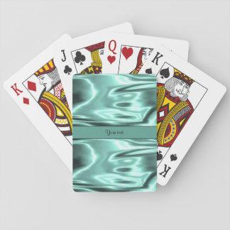 Romantic Teal Satin Playing Cards