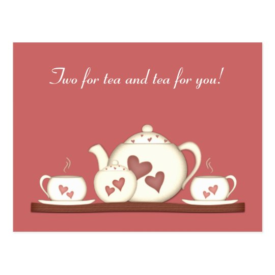 Romantic teaset postcard