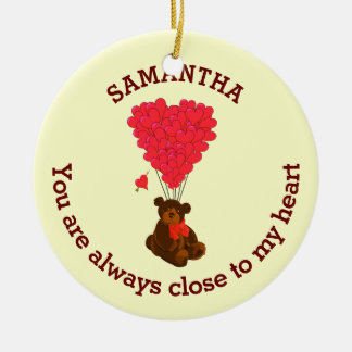 Romantic teddy bear and red heart personalized ceramic ornament