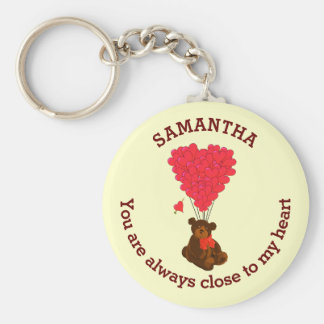 Romantic teddy bear and red heart personalized keychain
