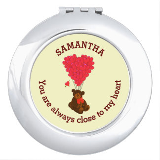 Romantic teddy bear and red heart personalized mirror for makeup