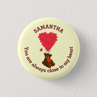 Romantic teddy bear and red heart personalized pinback button