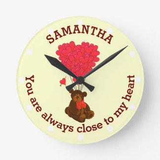 Romantic teddy bear and red heart personalized round clock