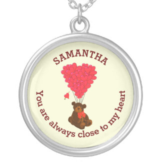 Romantic teddy bear and red heart personalized silver plated necklace