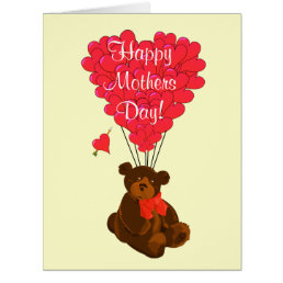 Romantic teddy bear mothers day card