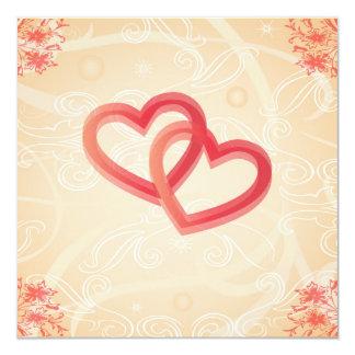 romantic texture with hearts invitation