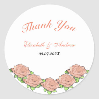 Romantic three pink roses floral chic Sticker