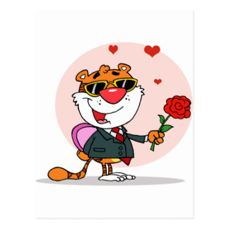 Romantic Tiger with Flower and Gift Postcard