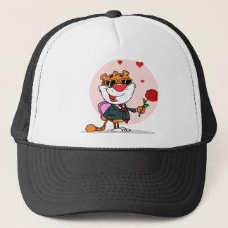 Romantic Tiger with Flower and Gift Trucker Hat