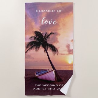 Romantic Tropical Beach Sunset Towel