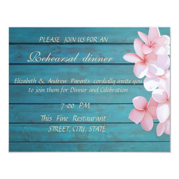 Romantic Tropical Flowers,Wedding Rehearsal Dinner Card