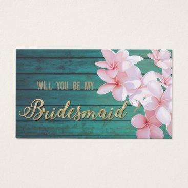 Beach Themed Romantic Tropical Flowers,Wood Texture,Bridesmaid Business Card