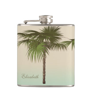 Romantic Tropical Palm Tree -Personalized Hip Flask