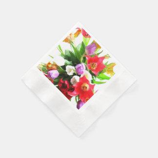 Romantic Tulip Flowers Disposable Napkins
