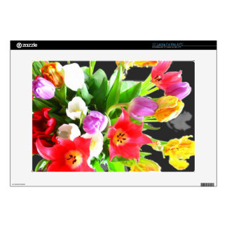 "Romantic Tulips Flowers 15"" Laptop Decal"