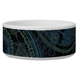 Romantic Turquoise, Blue & Green Paisley Dog Water Bowl