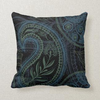 Romantic Turquoise, Blue & Green Paisley Throw Pillow