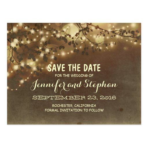 romantic twinkle lights save the date postcards