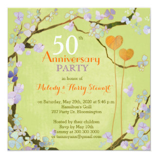 Romantic Two Hearts 50th Wedding Anniversary Party Invitation