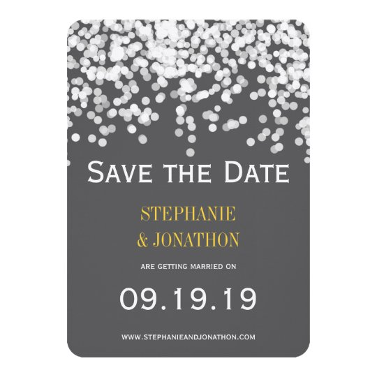 Romantic Under the Stars Yellow Gray Save the Date Card