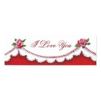 Romantic Valentine I Love You Reversible Bookmarks Mini Business Card