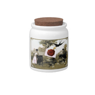 ROMANTIC VALENTINE LETTER ,RED WAX SEAL CANDY JARS