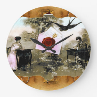 ROMANTIC VALENTINE LETTER ,RED WAX SEAL LARGE CLOCK