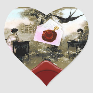 ROMANTIC VALENTINE LETTER ,RED WAX SEAL MONOGRAM