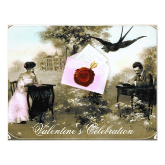 ROMANTIC VALENTINE LETTER ,RED WAX SEAL MONOGRAM CARD