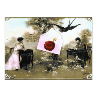 ROMANTIC VALENTINE LETTER ,RED WAX SEAL MONOGRAM 5X7 PAPER INVITATION CARD