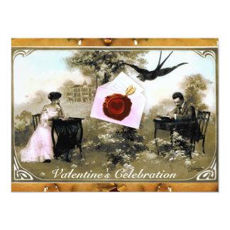 ROMANTIC VALENTINE LETTER ,RED WAX SEAL MONOGRAM 6.5X8.75 PAPER INVITATION CARD