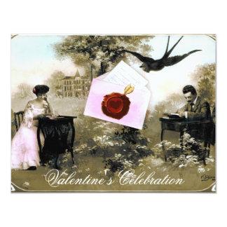 ROMANTIC VALENTINE LETTER ,RED WAX SEAL MONOGRAM 4.25X5.5 PAPER INVITATION CARD