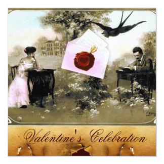ROMANTIC VALENTINE LETTER ,RED WAX SEAL MONOGRAM 5.25X5.25 SQUARE PAPER INVITATION CARD