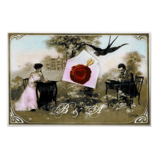 ROMANTIC VALENTINE LETTER RED WAX SEAL MONOGRAM POSTER