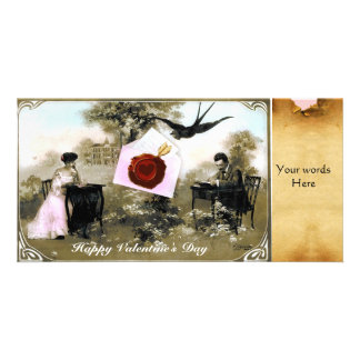 ROMANTIC VALENTINE LETTER ,RED WAX SEAL PARCHMENT PHOTO CARD