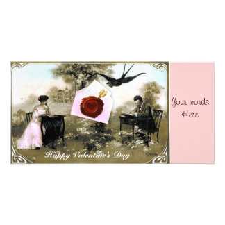 ROMANTIC VALENTINE LETTER ,RED WAX SEAL PHOTO CARD