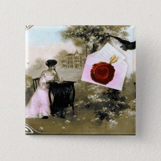 ROMANTIC VALENTINE LETTER ,RED WAX SEAL PINBACK BUTTON
