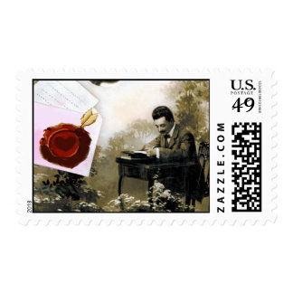 ROMANTIC VALENTINE LETTER ,RED WAX SEAL POSTAGE